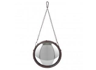 Kulaté kovové vypouklé zrcadlo s řetízkem -  Ø 26*3 cm