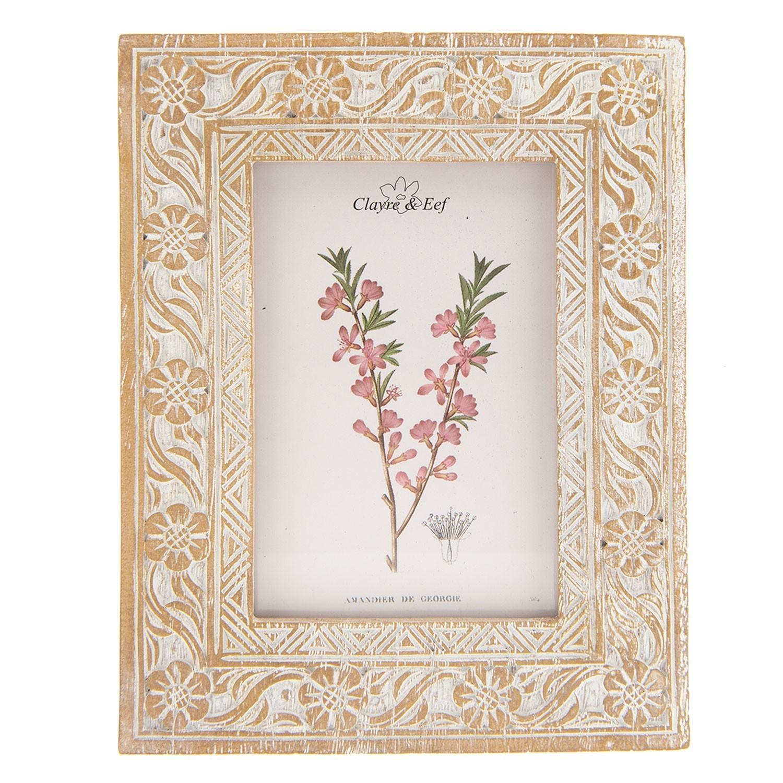 Hnědý fotorámeček s květinami a patinou - 17*2*22 cm / 10*15 cm