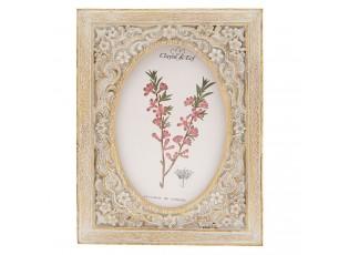 Hnědý fotorámeček s květinami a patinou - 15*2*20 cm / 10*15 cm