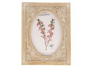 Hnědý fotorámeček s květinami a patinou - 18*2*23 cm / 13*18 cm
