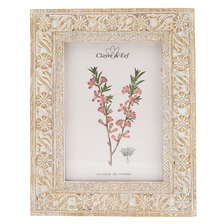Hnědý fotorámeček s květinami a patinou - 20*2*25 cm / 13*18 cm