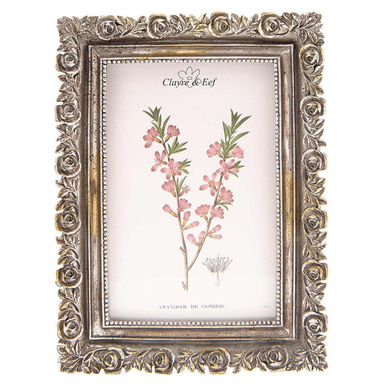 Stříbrný antik fotorámeček s růžemi - 15*2*20 cm / 10*15 cm