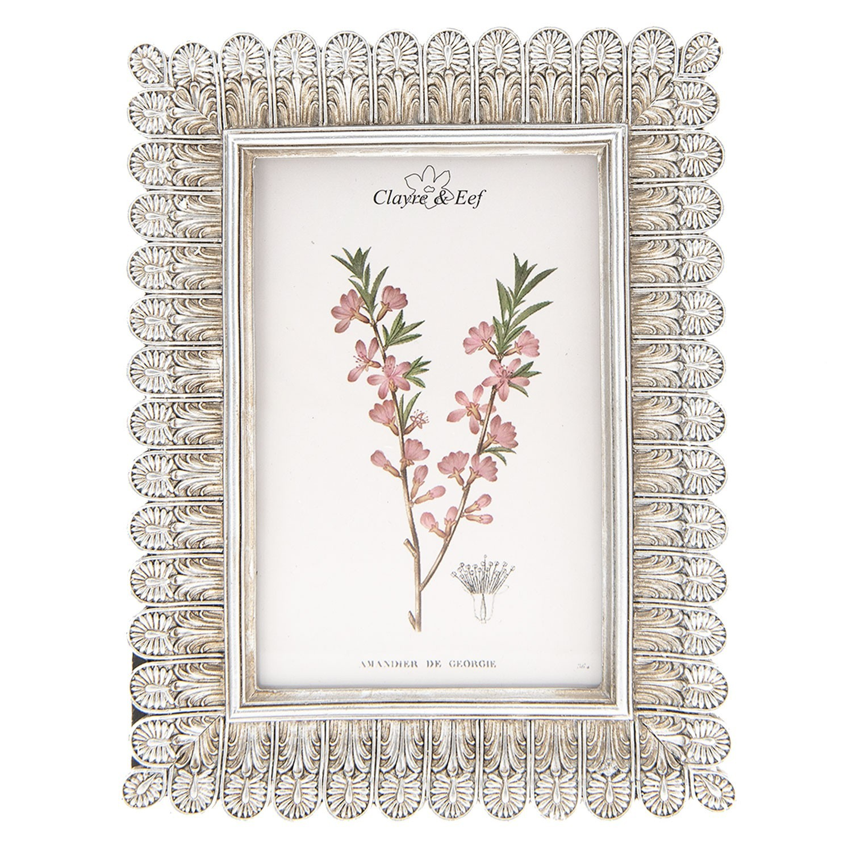 Stříbrný antik fotorámeček s květinami - 16*2*20 cm / 10*15 cm