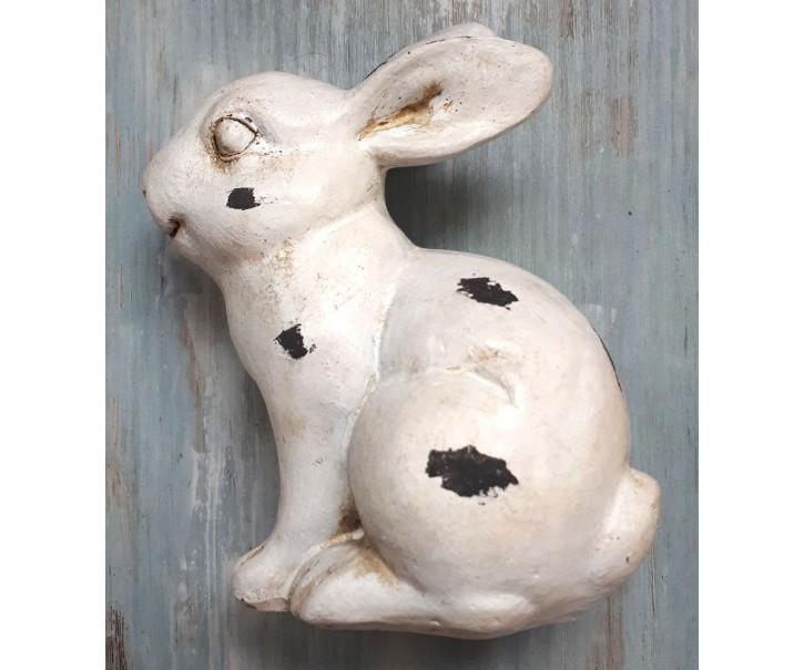 Dekorace bílý králíček s patinou a odřením - 12*7*14cm