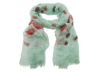 Zelený šátek s tulipány - 70*180 cm