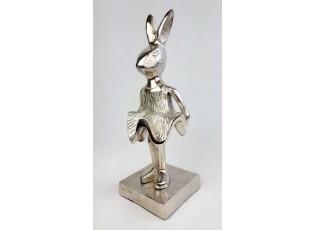 Dekorace králík Wanny stříbrný - 11*10*30cm