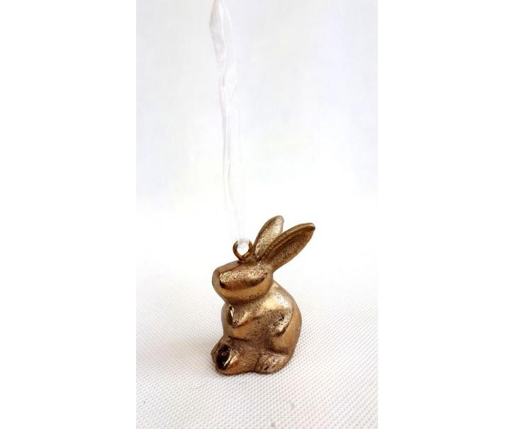 Dekorace závěsný králíček bronzový - 5*3*6cm