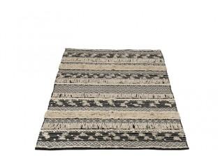 Černo-krémový koberec Monochrome Boho s třásněmi - 120*180cm