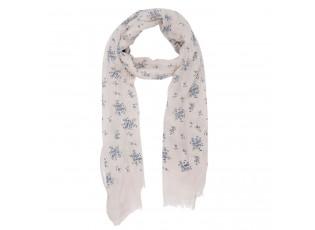 Béžový šátek Caron s modrými kytičkami  - 70*180 cm