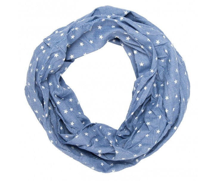 Modrý šátek Marsile s hvězdičkami - 40*160 cm
