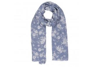 Modrý šátek Rosa s růžemi - 70*180 cm