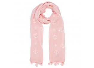 Růžový šátek Achors s kotvami - 70*180 cm