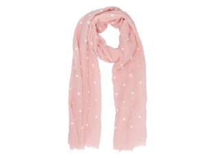 Světle růžový šátek Dots s puntíky - 70*180 cm