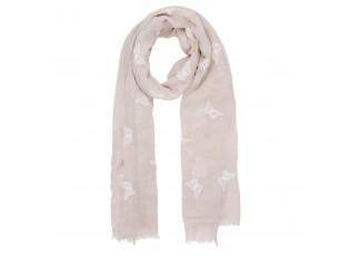 Béžový šátek Butterfly s motýlky - 70*180 cm
