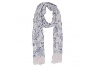 Béžový šátek Floral s květinami - 80*180 cm