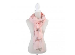 Růžový šátek s liškami - 90*180 cm