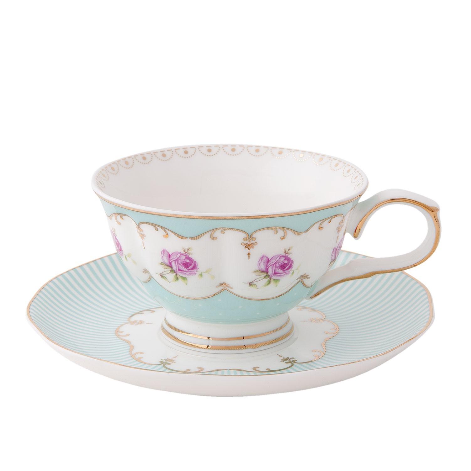 Porcelánový šálek s podšálkem s růžemi Rose - Ø 15*8 cm / 0,12L