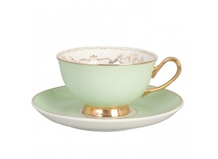 Porcelánový šálek s podšálkem zelený - 0,2l