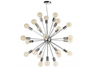 Závěsné chromové světlo Globe 24 žárovek - Ø 72cm
