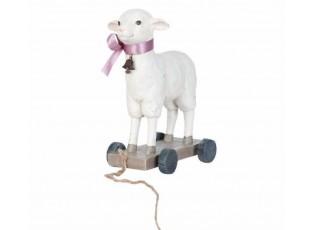 Dekorace ovečka na kolečkách - 16*8*20 cm