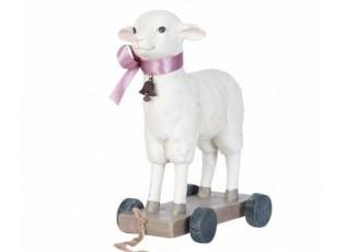 Dekorace ovečka na kolečkách - 22*13*29 cm