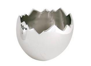 Stříbrné porcelánové vejce skořápka - Ø15*16cm