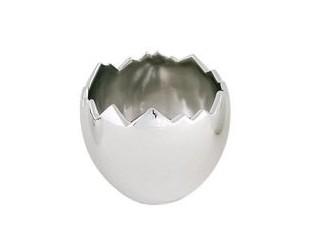 Stříbrné porcelánové vejce skořápka - Ø13*12cm