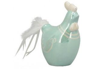 Zelená perleťová slepička s peříčky - 12*7,5*15cm