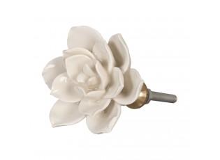 Keramická úchytka květ krémový - Ø 5 cm