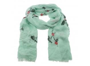 Zelený šátek Floral s ptáčky - 70*180 cm