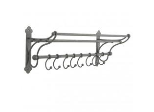 Nástěnný kovový věšák s háčky - 56*22*23 cm