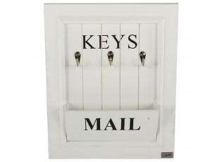 Bílý box na poštu a klíče na zeď  -  33*6,5*41 cm