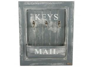 Šedý box na poštu a klíče na zeď  -  33*6,5*41 cm