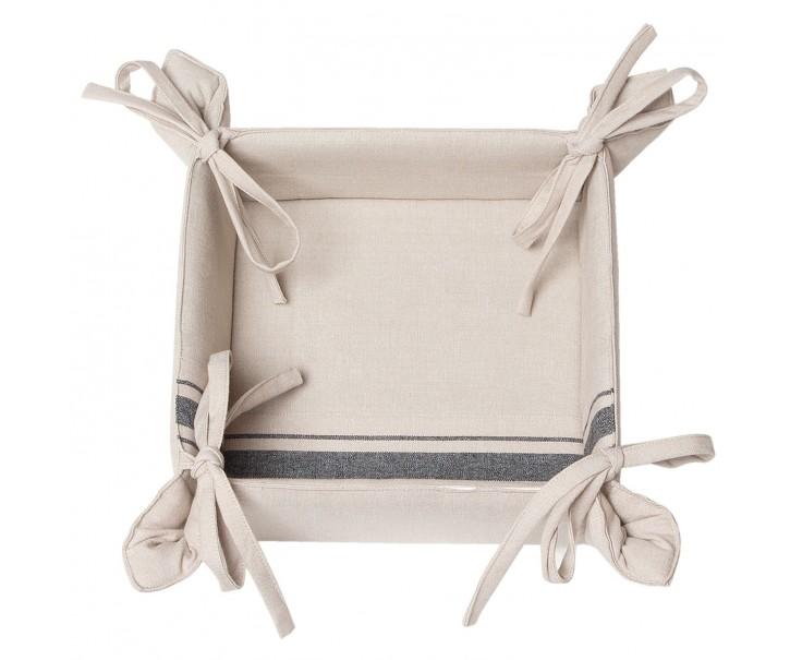 Oboustranný textilní košíček na pečivo Country Essentials black - 35*35*8 cm
