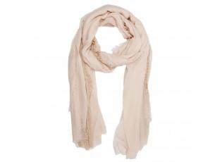Béžový šátek Gracie s krajkou - 70*180 cm