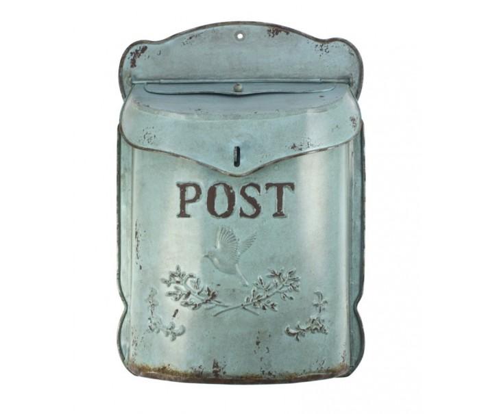 Tyrkysová poštovní retro schránka s ptáčkem - 27*10*39 cm