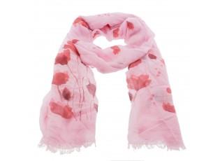 Růžový šátek s tulipány - 70*180 cm