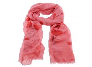 Tmavě růžový šátek s tulipány - 70*180 cm