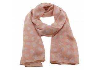 Růžový šátek se srdíčky - 70*180 cm