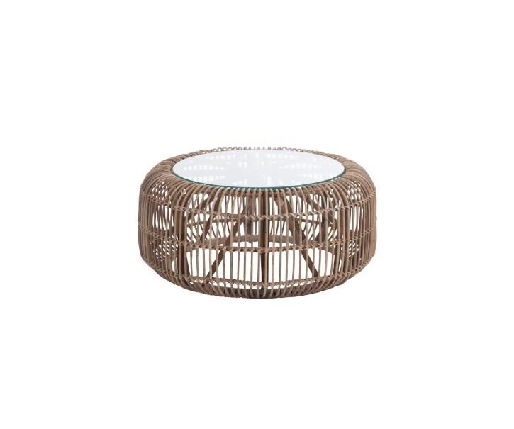 Přírodní ratanový konferenční stolek - Ø 85 * 40cm