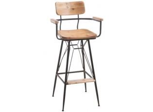 Kovová barová židle se dřevem BISTRO - 50* 53 * 111cm