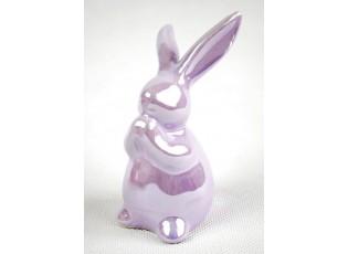 Perleťový fialový velikonoční zajíček - 5*11 cm