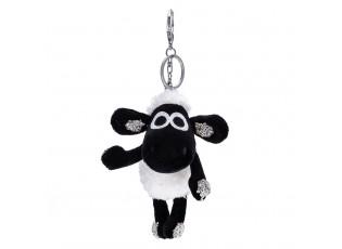 Bordová plyšová ovečka s kamínky - přívěsek na klíče