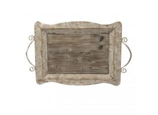 Dřevěný kovový servírovací podnos -  65*40*9 cm