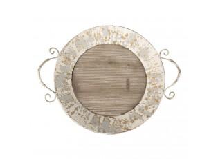 Dřevěný kovový servírovací podnos -  50*44*14 cm