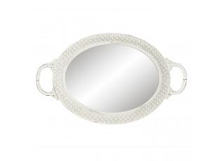 Bílý oválný podnos se zrcadlem - 39*24*4 cm