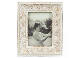 Bílý fotorámeček s růžemi a patinou - 10*13 cm / 6*9 cm