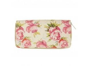 Béžová peněženka s květy - 19*10 cm