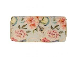 Béžová peněženka s barevnými květy - 19*10 cm
