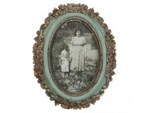 Zelený fotorámeček s květy a patinou - 17*21 cm / 10*15 cm